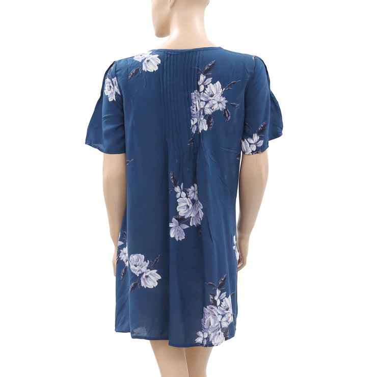Kimchi Blue Urban Outfitters Floral Printed Teal Mini Dress M