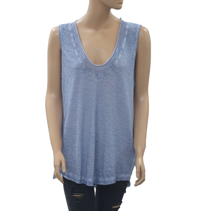 Free People We The Free Bombay Tank Blouse Top Blue Boho Cotton S NWT