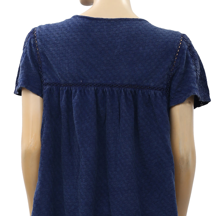 Luck Brand Lace Embroidered Navy Blouse Top S New