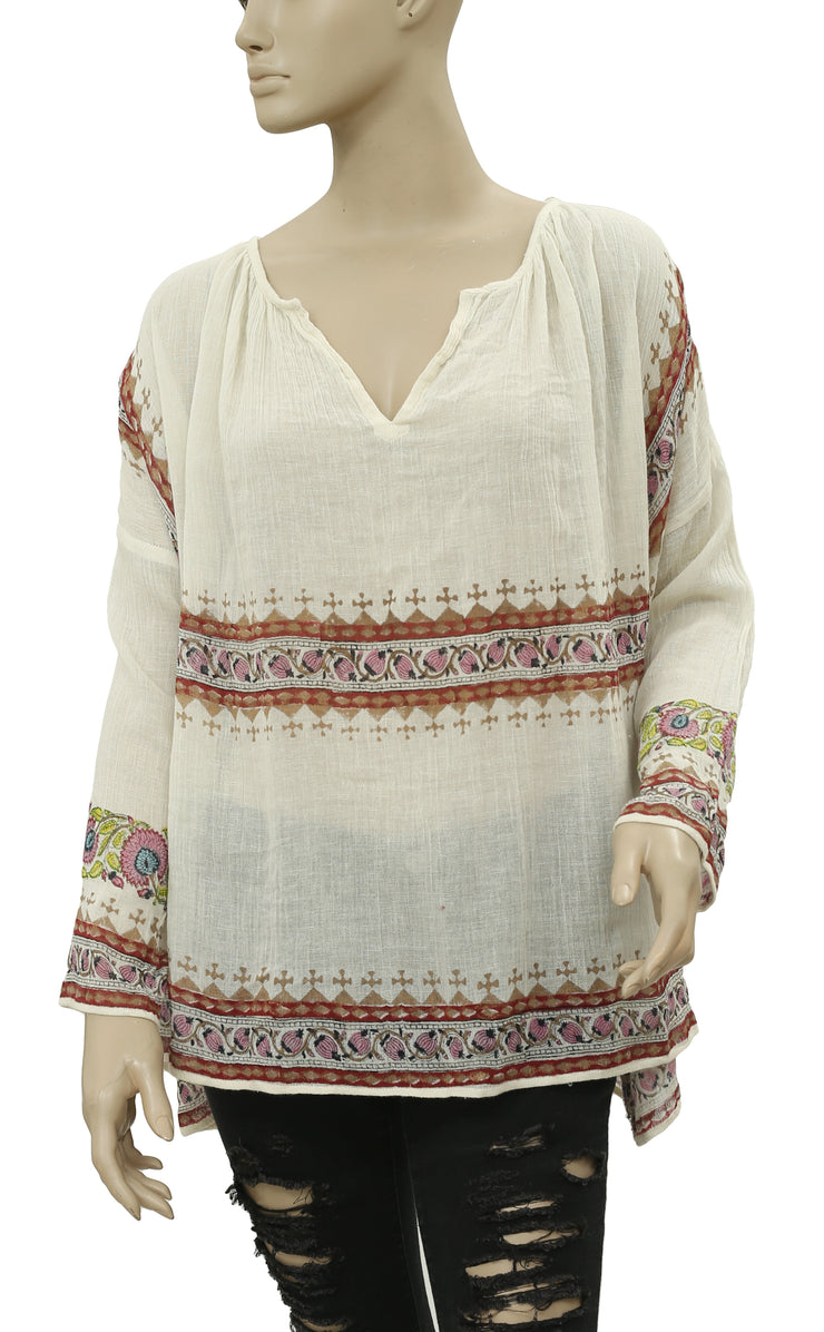 Free People Floral Printed Dolman Ivory Tunic Top M