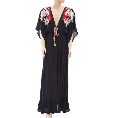 White Chocolate Embroidered Maxi Dress Black Bead Embellished Kimono M Nw