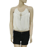 Free People Round Neck Strappy Gauze Ivory Causal Blouse Top Medium M