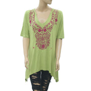 Soft Surroundings Embroidered Tunic Top Asymmetrical Green Cotton L NEW
