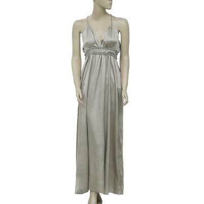 Minus Stone Embellished Sleeveless Gray Silk Party Maxi Dress S