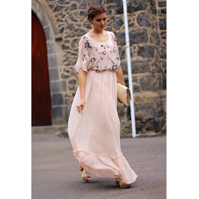 Amitie La Invitada Perfecta Embellished Cocktail Maxi Dress L