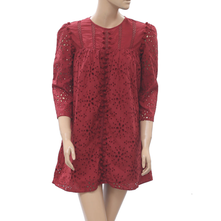 Zara Trafaluc Embroidered With Pom Pom Dress