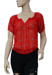 Lucky Brand Floral Printed Pintuck Red Top M