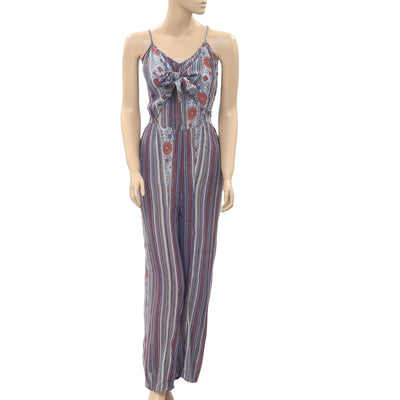Patrons Of Peace Floral Printed Wide Leg Jumpsuit Front Tie Pocket S