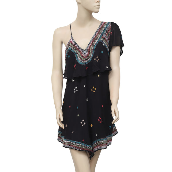 Free People These Eyes Together One Shoulder Mini Dress Embroidered S