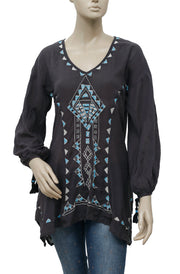Free People Embroidered Embellished Black Tunic Top S