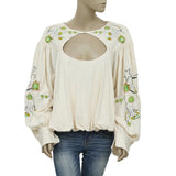 Free People Lita Embrodered Oversized Bubble Blouse Top L