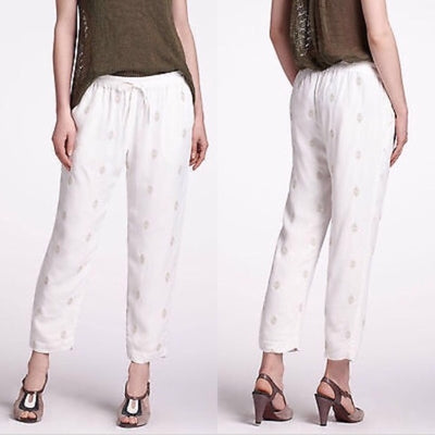 Anthropologie Leifnotes Sequin Embellished Ivory Pants XS
