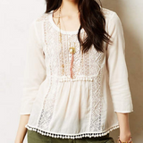 Maeve Anthropologie Beaded Peasant Top Embellished White Blouse S 4
