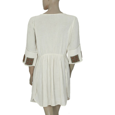 Mes Demoiselles Paris Ruby Embroidered Dolman Ivory Mini Dress S