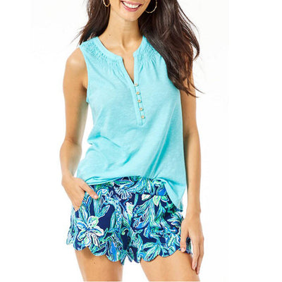 Lilly Pulitzer Essie Blue Tank Blouse Top