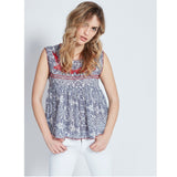 Berenice Vera Floral Printed Embroidered Cotton Blouse Top L