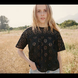 Doen Delphine Eyelet Embroidered Black Blouse Top XS