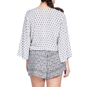 Elan Floral Printed Playsuit Wrap Romper Beach Summer Holiday Gray S
