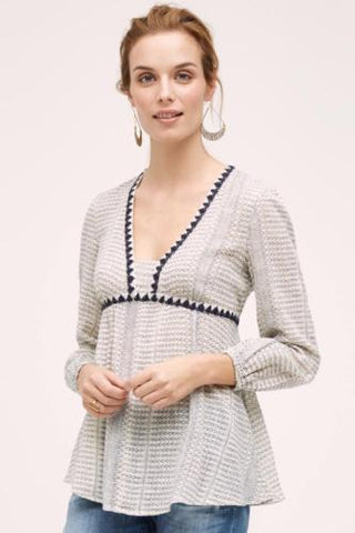 Anthropologie Floreat Kota Peasant Embroidered Top XS
