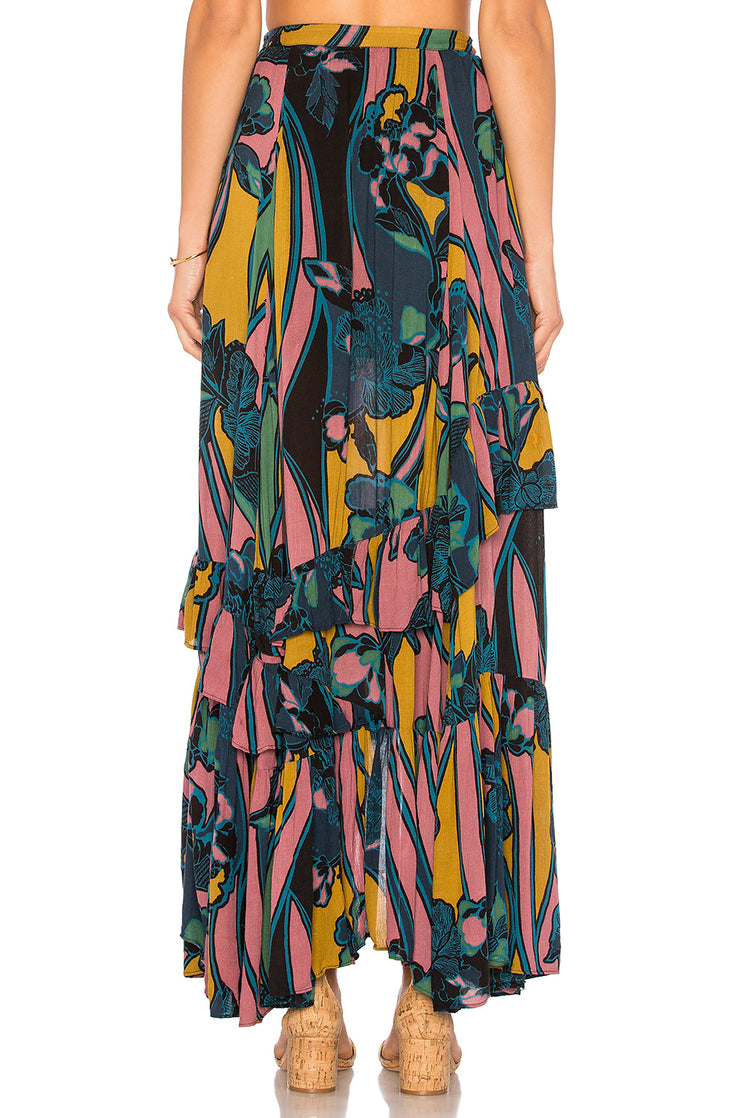 Free People Bring Back The Summer Maxi Skirt Asymmetrical Ruffle Boho XS