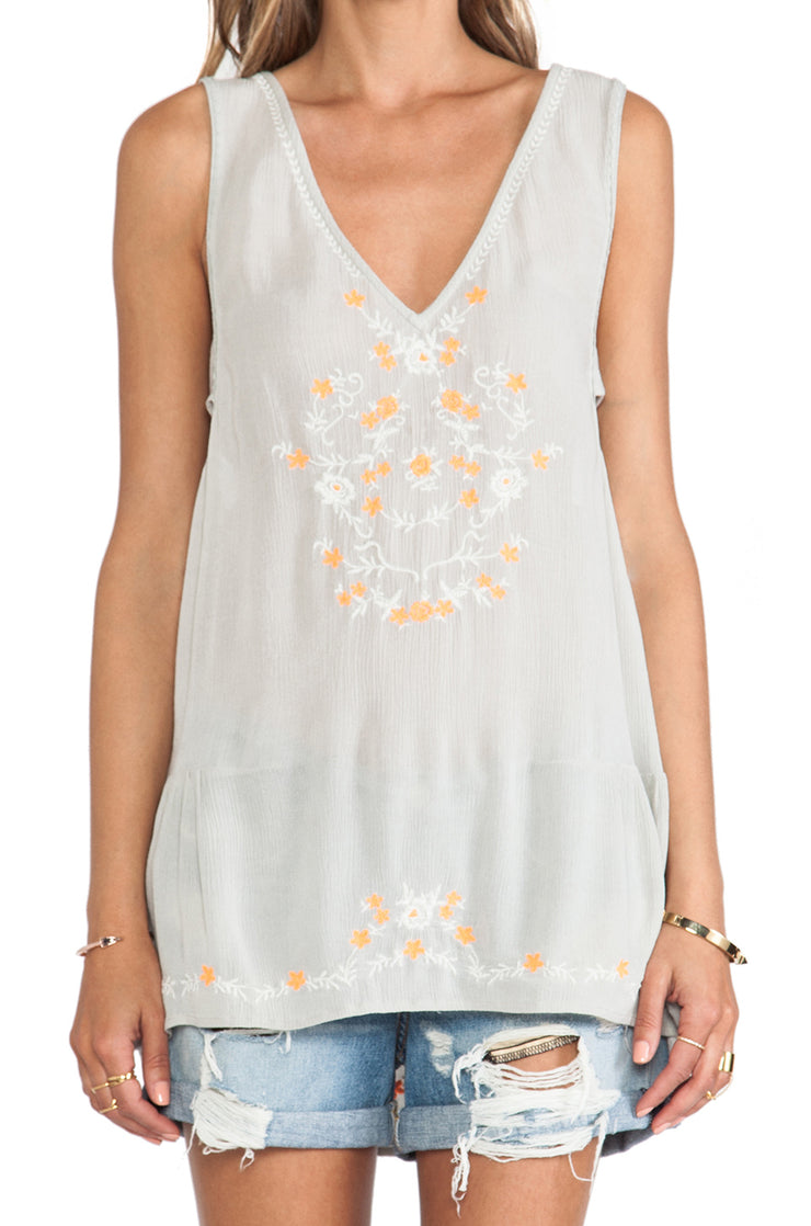 Free People Wild Strawberry Floral Embroidered Tunic Top S