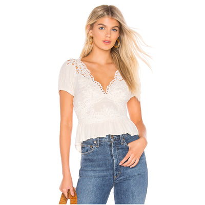 Free People Sweet Roses Blouse Top L