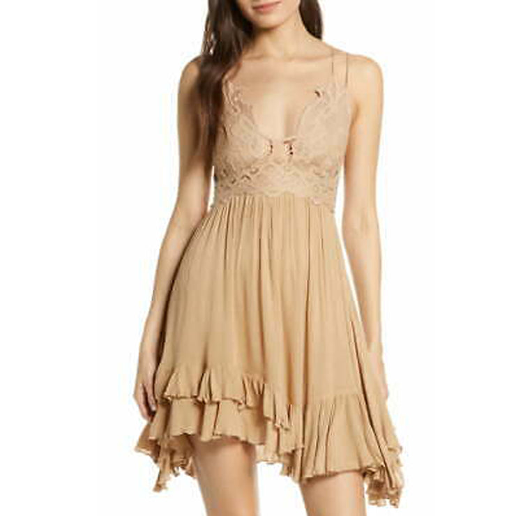 "Free People FP One ""Adella"" Slip Boho Crochet Lace Tiered Mini Dress S"