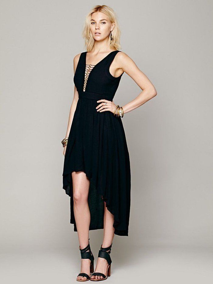 Free People Black Gold Necklace High Low Hem Dress S 6 – White Chocolate  Couture 79e3df1fe