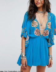 Free People Cora Floral Embroidered Dress M