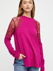 Free People Daniella Ribbed Sheer Mesh Top M
