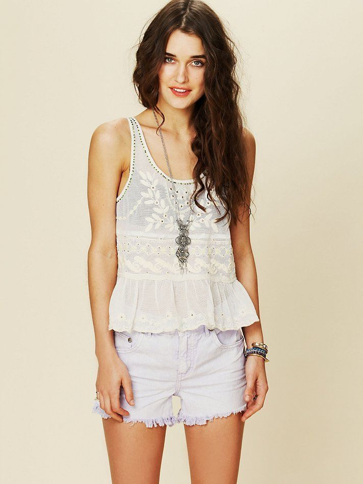 Free People Embroidered Embellished Top L