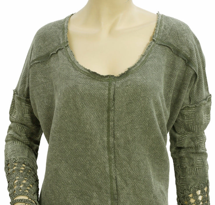 Free People Embroidered Cutout Top S