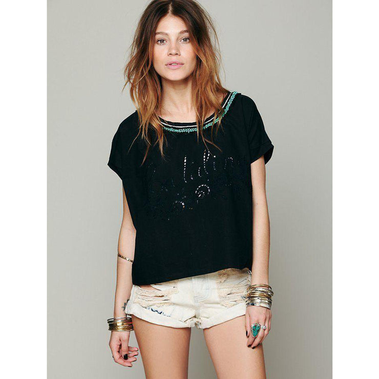 Free People Catalina Embellished Top S