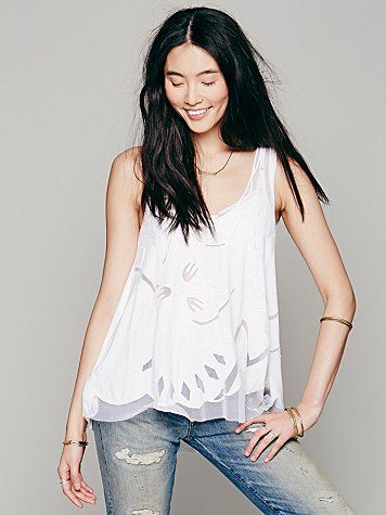 Free People FP New Romantics Kahlo Tank White Top S