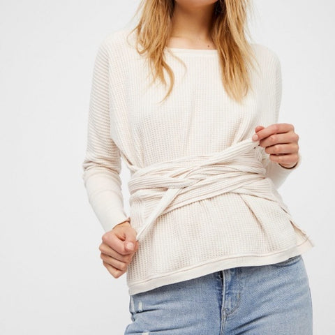 Free People FP One Wrap Thermal Ribbed Oversized Top L