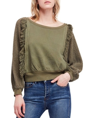 Free People Faff Fringe Pullover Green Sweater Top S