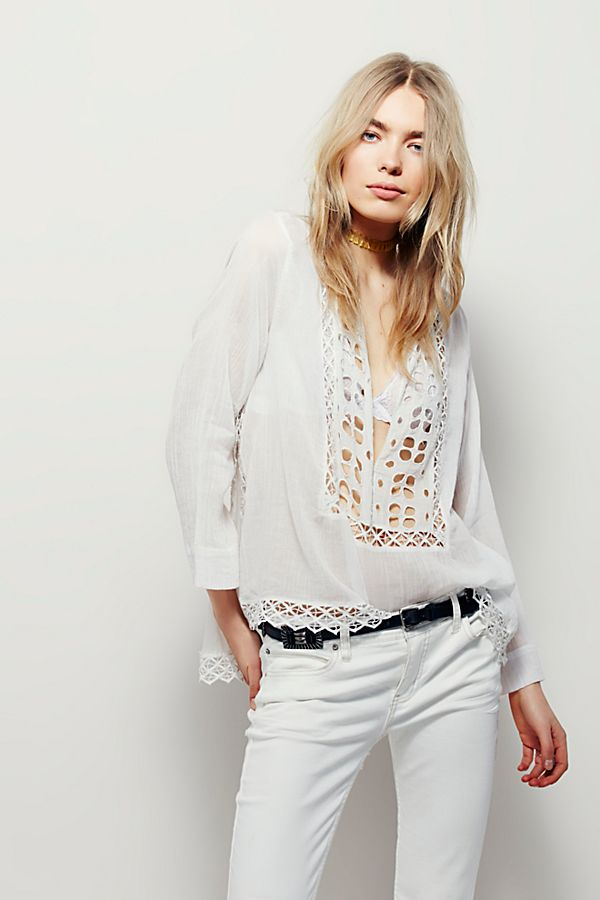 93f4dd22f15 Free People Fp One Paloma Eyelet Ivory Blouse Top XS S – White Chocolate  Couture