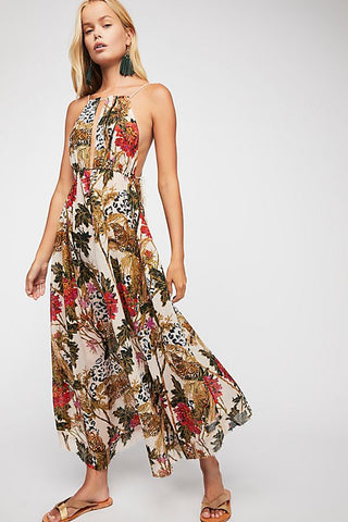 671ae2055ef Free People Head In The Clouds Maxi Dress Printed Deep Back M