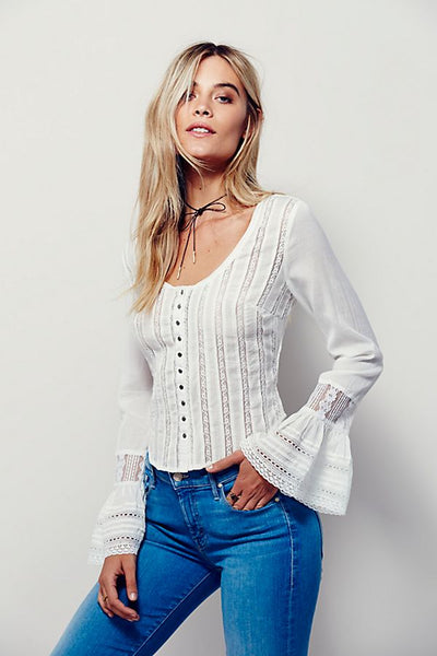 Free People Like A Star Top Lace White Blouse S