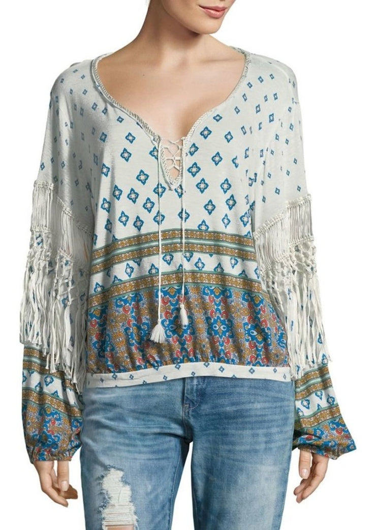 Free People Macra-Maze Me  Fringes Blouse Top L