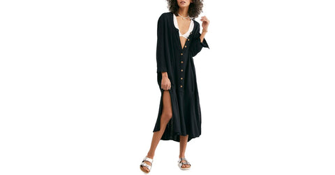 Free People Mathilda Henley Black Shirt Midi Dress L