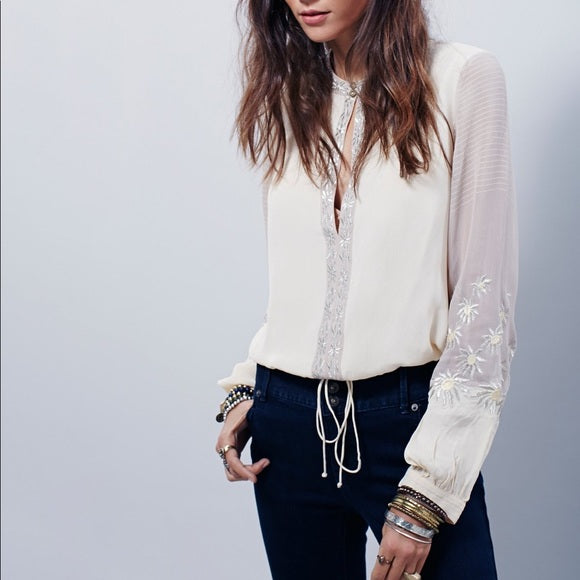 Free People Midnight City Embroidered Top Ivory S
