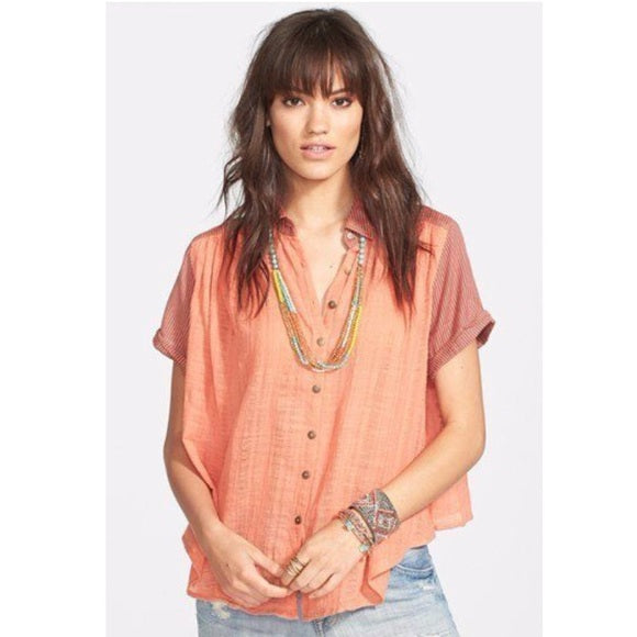 Free People Striped Printed Buttondown Gauze Orange Blouse Top S