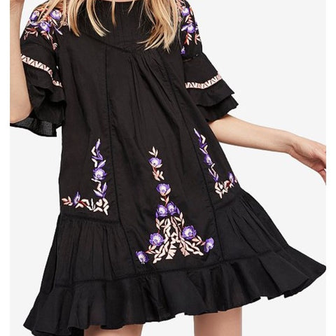 Free People Pavlo Babydoll Embroidered Blalck Mini Dress XS