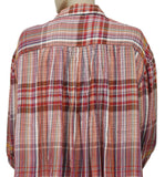 Free People Rainbow Days Plaid Colorful Oversized Top L
