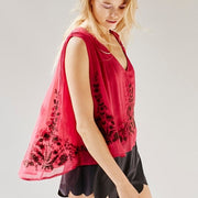 Free People Seasons of Love Embroidered Blouse Top Raspberry S
