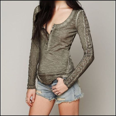Free People Shell Stitch Lace Crochet Olive Green Tunic Top S