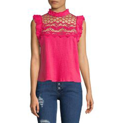 Free People Simply Smiles Crochet Butterfly  Top Pink Blouse S