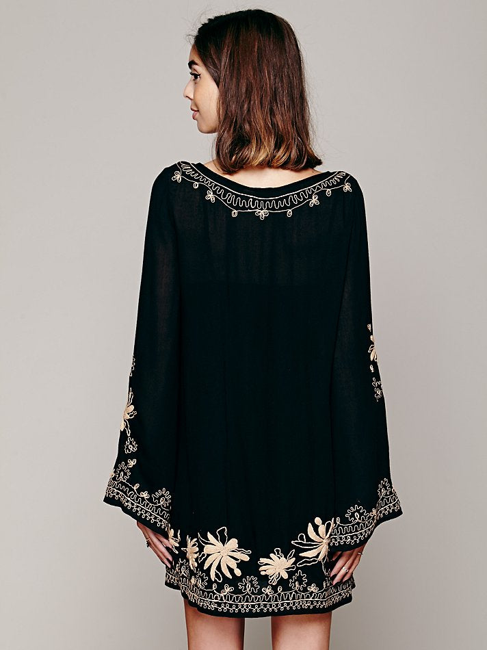 Free People Skyfall Embroidered Tunic Black Dress S