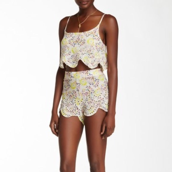 Free People So Much Fun Eyelet Cami Top Shorts Set S